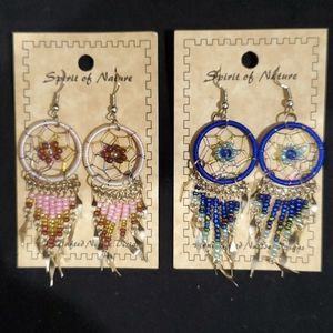 Handcrafted beaded dream catcher earings.
